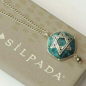 SILPADA STAR OF DAVID TURQUOISE + PYRITE .925